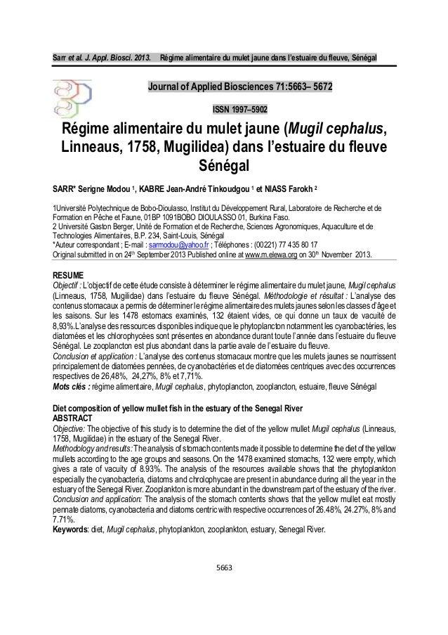 Sarr et al. J. Appl. Biosci. 2013. Régime alimentaire du mulet jaune dans l'estuaire du fleuve, Sénégal 5663 Régime alimen...