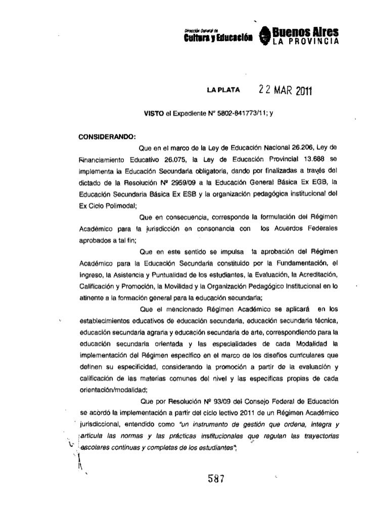 Regimen academico resolucion nº 587 11