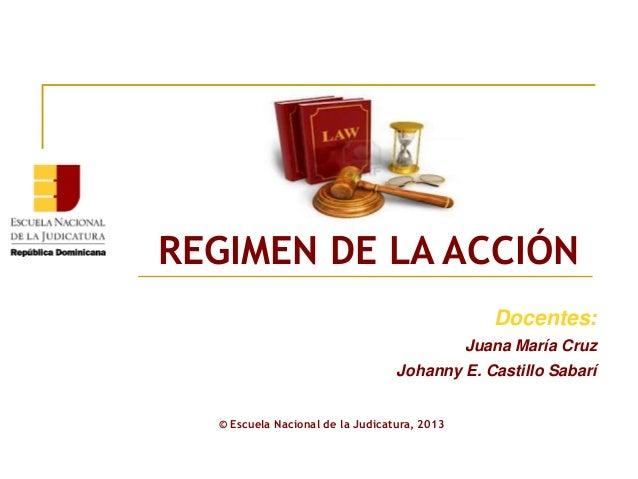 Docentes: Juana María Cruz Johanny E. Castillo Sabarí REGIMEN DE LA ACCIÓN © Escuela Nacional de la Judicatura, 2013