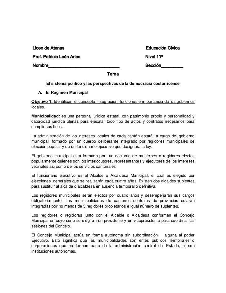Liceo de Atenas                                                Educación CívicaProf. Patricia León Arias                  ...
