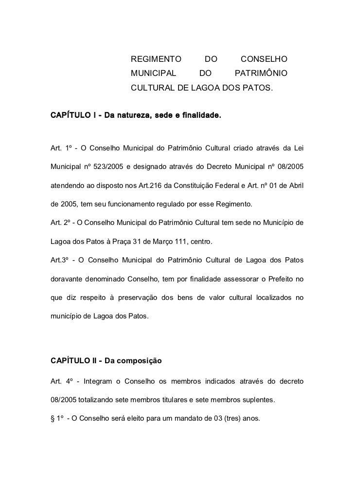 REGIMENTO              DO         CONSELHO                         MUNICIPAL            DO         PATRIMÔNIO             ...