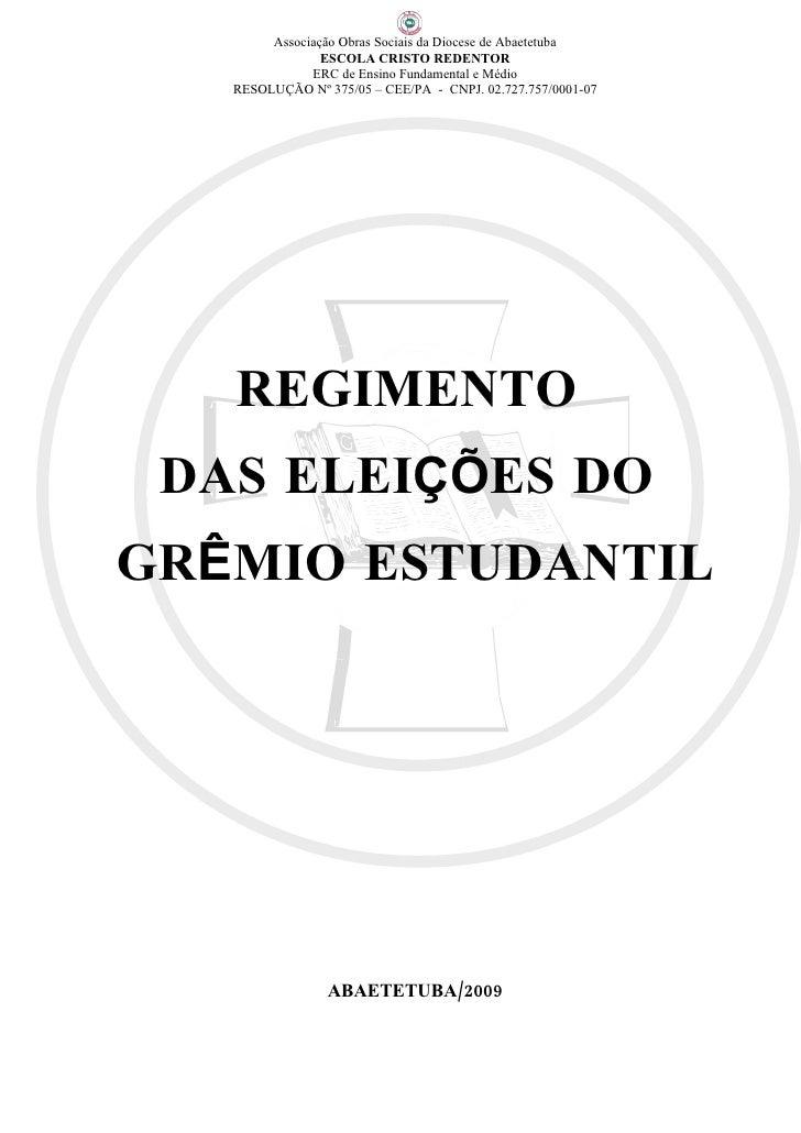 Regimento Eleitoral do Gremio Estudantil