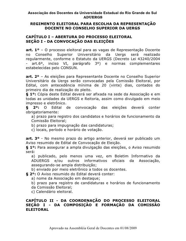Associação dos Docentes da Universidade Estadual do Rio Grande do Sul                               ADUERGS   REGIMENTO EL...