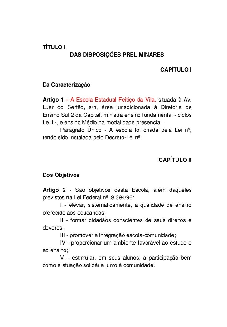 TÍTULO I           DAS DISPOSIÇÕES PRELIMINARES                                                CAPÍTULO IDa Caracterização...