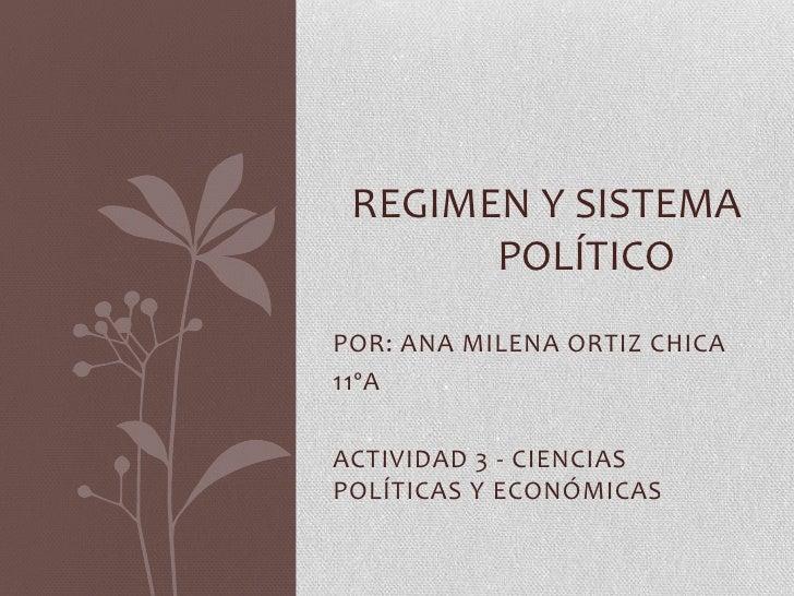 REGIMEN Y SISTEMA       POLÍTICOPOR: ANA MILENA ORTIZ CHICA11ºAACTIVIDAD 3 - CIENCIASPOLÍTICAS Y ECONÓMICAS