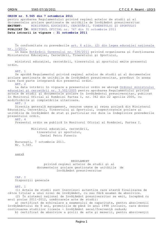 ORDIN 5565 07/10/2011 C.T.C.E. P. Neamt - LEGIS ORDIN nr. 5.565 din 7 octombrie 2011 pentru aprobarea Regulamentului privi...