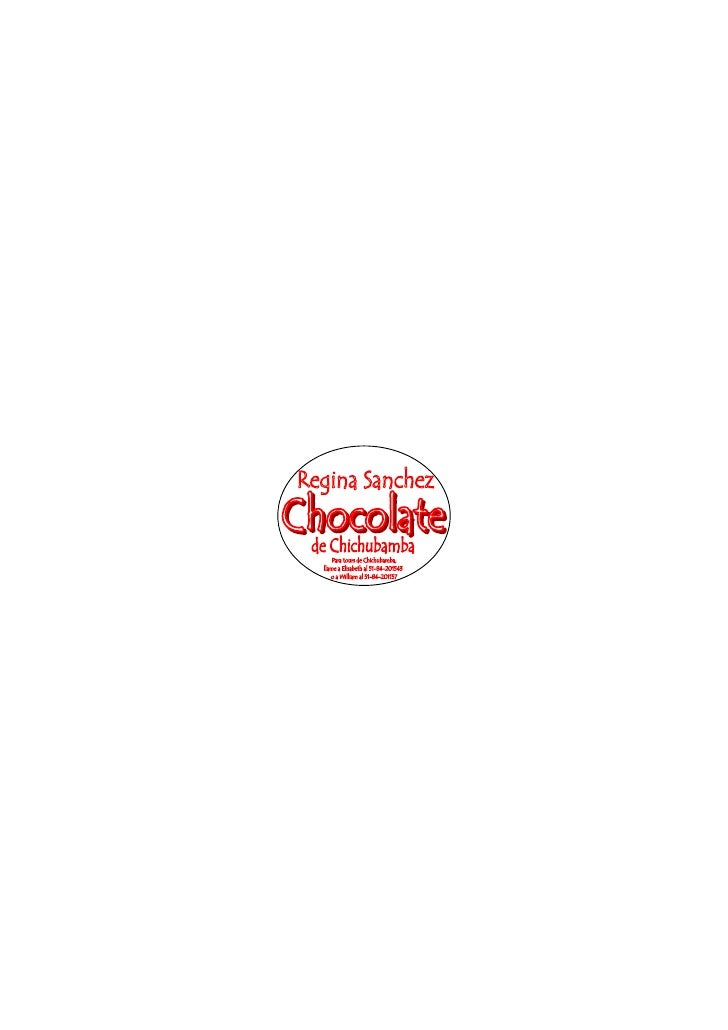 Chichubamba Product Label- Regina's Chocolate