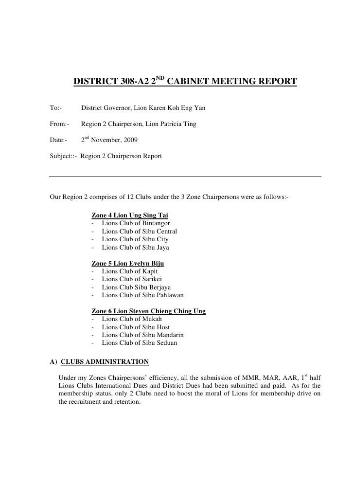 DISTRICT 308-A2 2ND CABINET MEETING REPORT  To:-      District Governor, Lion Karen Koh Eng Yan  From:-    Region 2 Chairp...