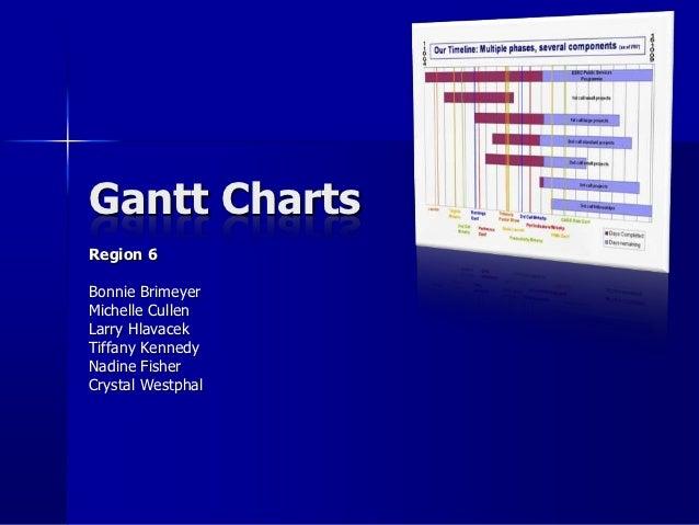 Gantt ChartsRegion 6Bonnie BrimeyerMichelle CullenLarry HlavacekTiffany KennedyNadine FisherCrystal Westphal