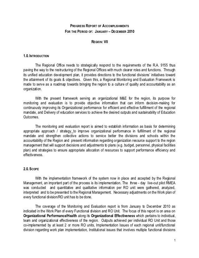 DepEd Region 7 RMEA Progress Report of Accomplishments for the Calend…