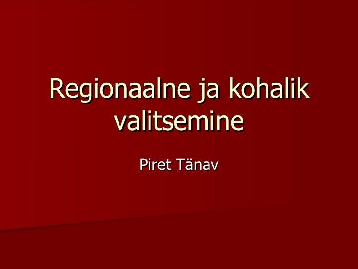 Regionaalne Ja Kohalik Valitsemine
