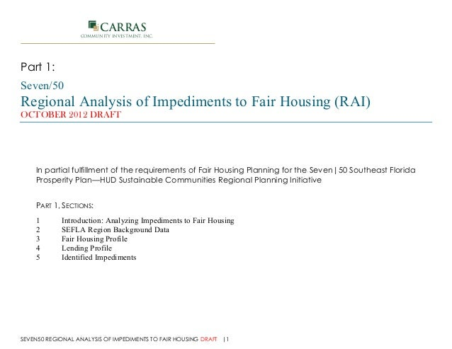 Regional Analysis of Impediments to Fair Housing (RAI) Part 1