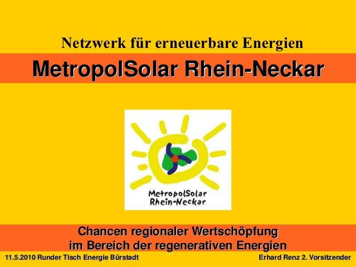 Netzwerk für erneuerbare Energien       MetropolSolar Rhein-Neckar                   Chancen regionaler Wertschöpfung     ...