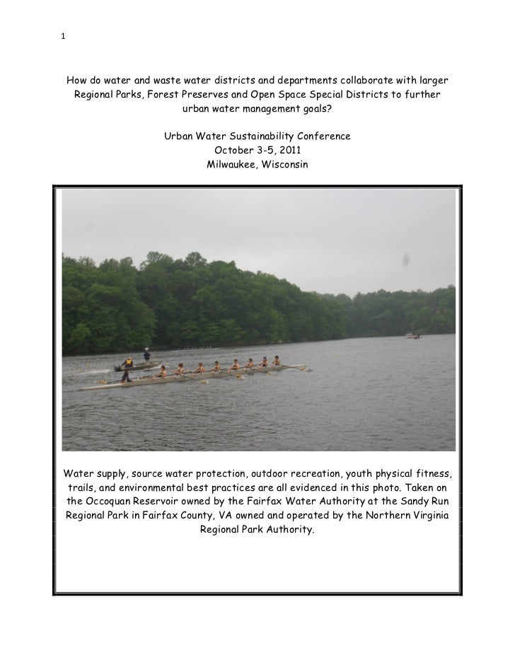 1    How do water and waste water districts and departments collaborate with larger     Regional Parks, Forest Preserves a...