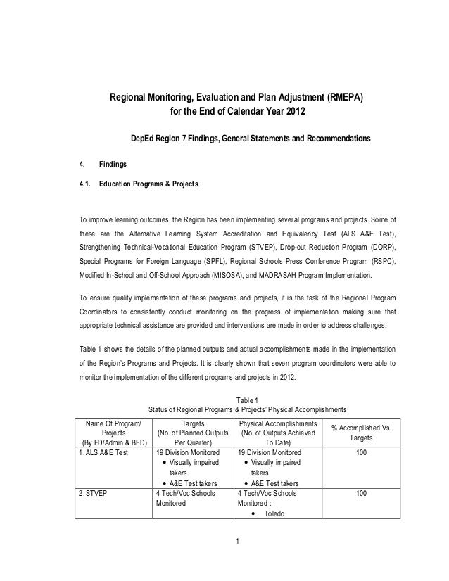DepEd Region 7 QAAD's Report on Regional Monitoring, Evaluation and Plan Adjustment…