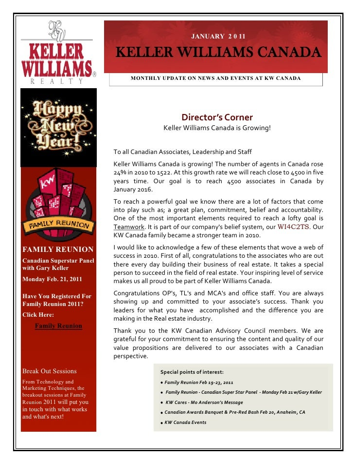 JANUARY 2 0 11                              KELLER WILLIAMS CANADA                                    MONTHLY UPDATE ON NE...