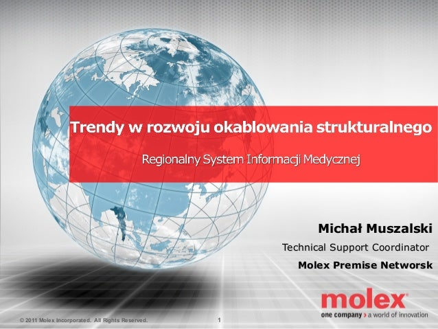 Michał Muszalski Technical Support Coordinator Molex Premise Networsk  © 2011 Molex Incorporated. All Rights Reserved.  1