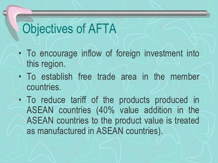 effects of afta cept on asean member Recalling the decision of the thirteenth afta council meeting in singapore on 29 september 1999 to work towards the elimination of import duties on all products to achieve the eventual objective of a free trade area by the year 2015 for the six original asean member countries and the year 2018 for the new members of asean.