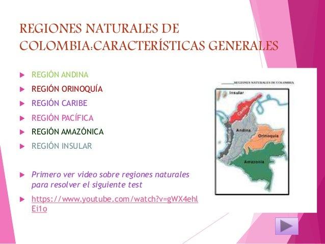 REGIONES NATURALES DE COLOMBIA:CARACTERÍSTICAS GENERALES  REGIÓN ANDINA  REGIÓN ORINOQUÍA  REGIÓN CARIBE  REGIÓN PACÍF...