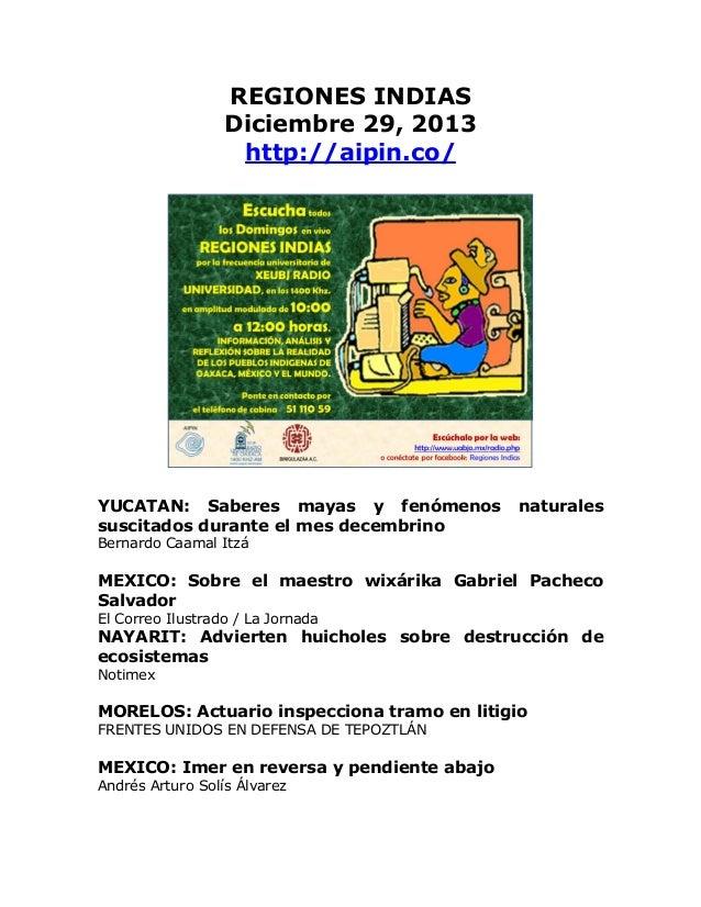 REGIONES INDIAS Boletín Diciembre 29, 2013