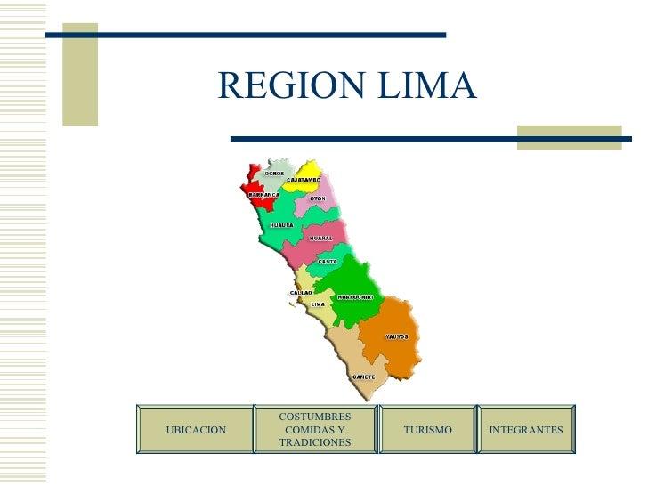 REGION LIMA UBICACION COSTUMBRES COMIDAS Y  TRADICIONES TURISMO INTEGRANTES