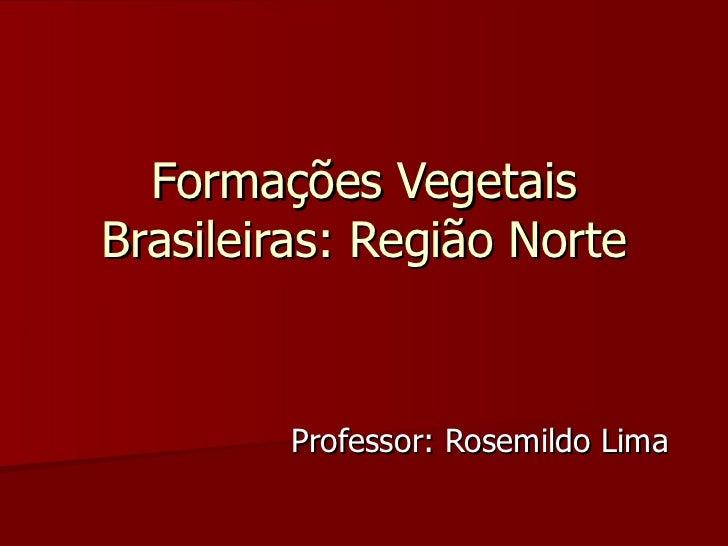 Formações Vegetais Brasileiras: Região Norte Professor: Rosemildo Lima