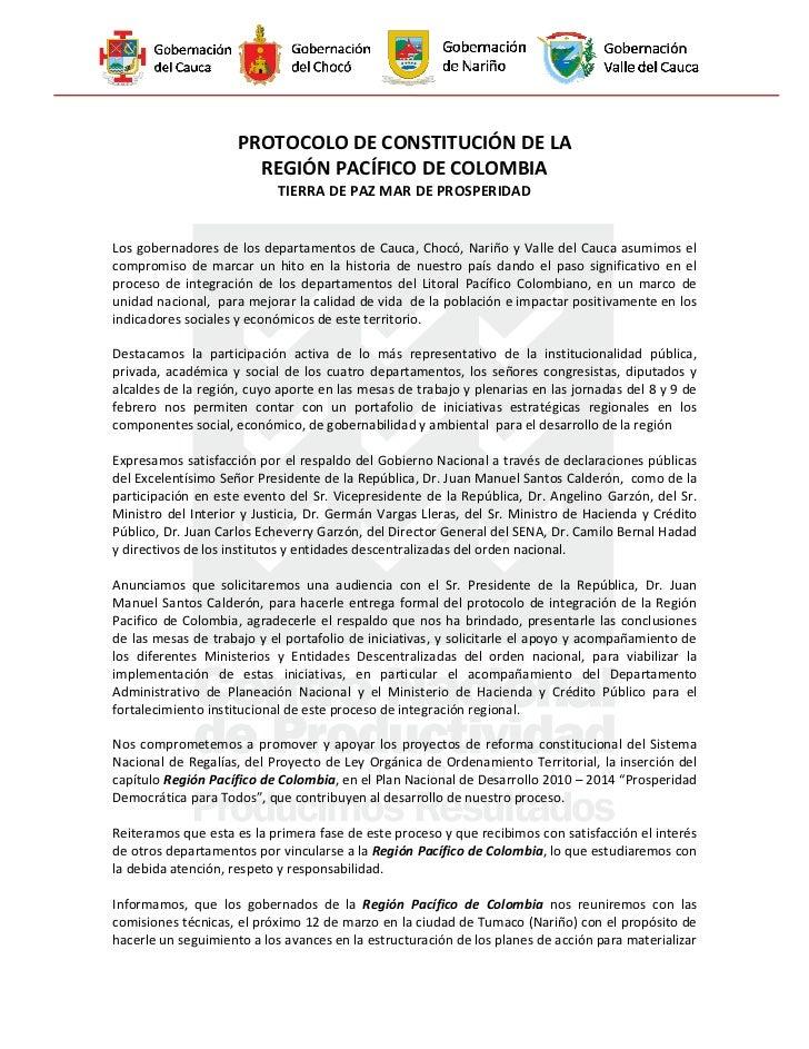 Protocolo de Constitución Región Pacífico de Colombia (Cali)