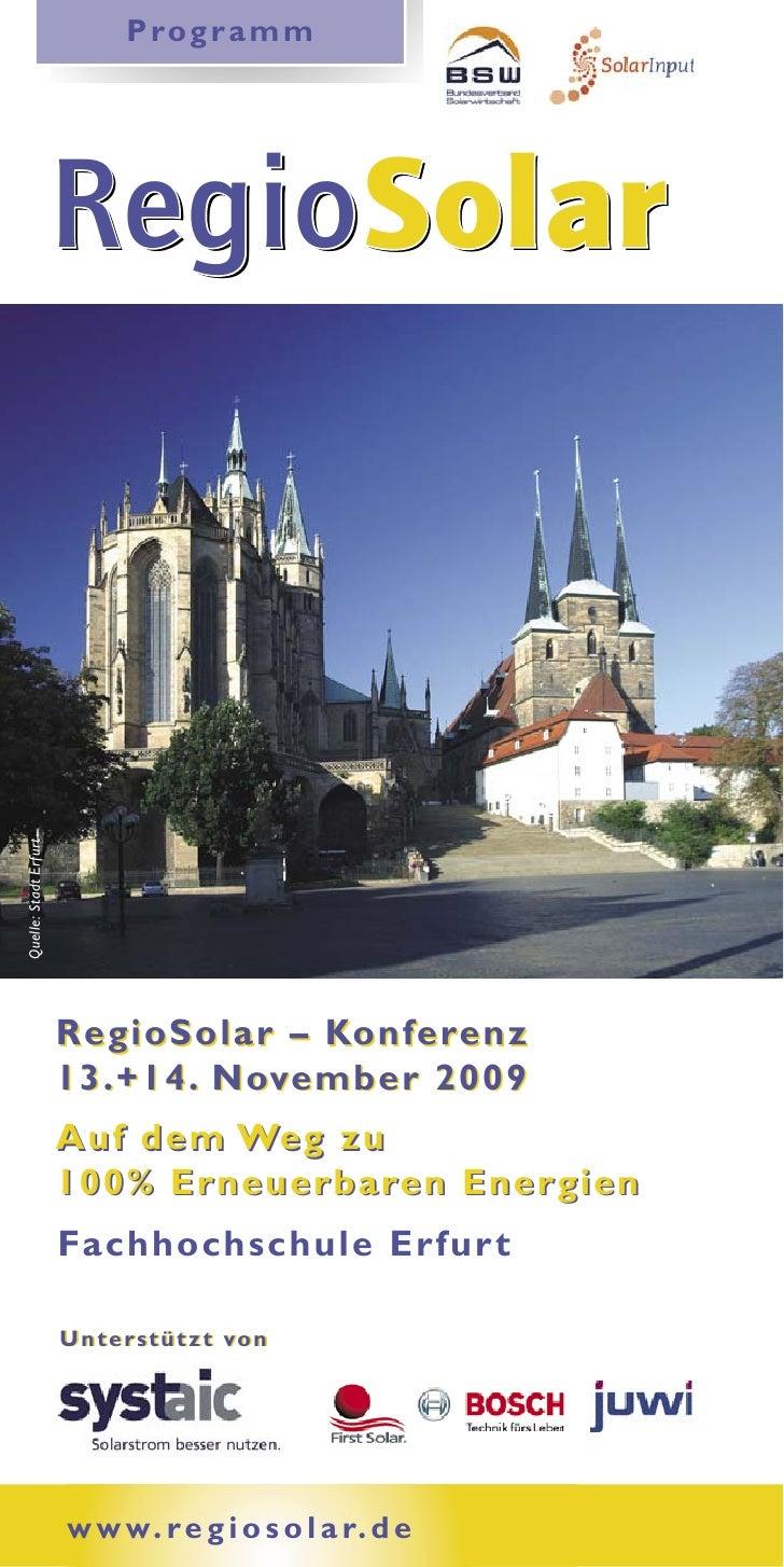 P ro g r a m m                            RegioSolar                        RegioSolar Quelle: Stadt Erfurt               ...