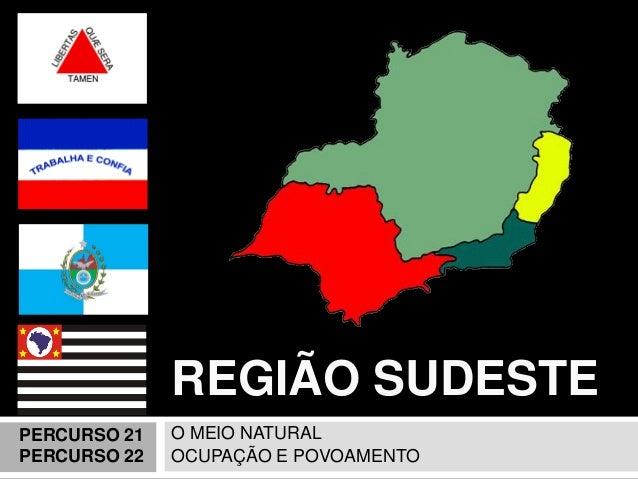 REGIÃO SUDESTE  O MEIO NATURAL  OCUPAÇÃO E POVOAMENTO  PERCURSO 21 PERCURSO 22