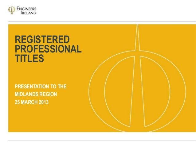 Registered professional titles presentation