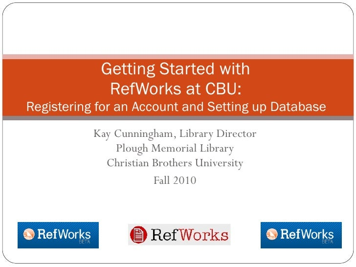 Registering and Setting Up a RefWorks account