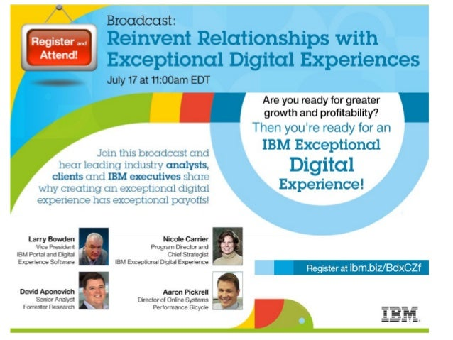 Register IBM Exceptional Digital Experience Webcast
