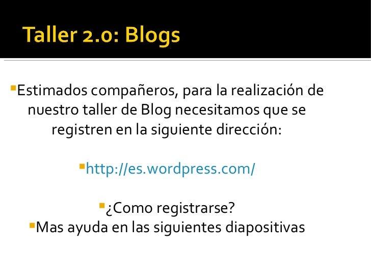 Presentación Para Ayuda a registrarse en Wordpress