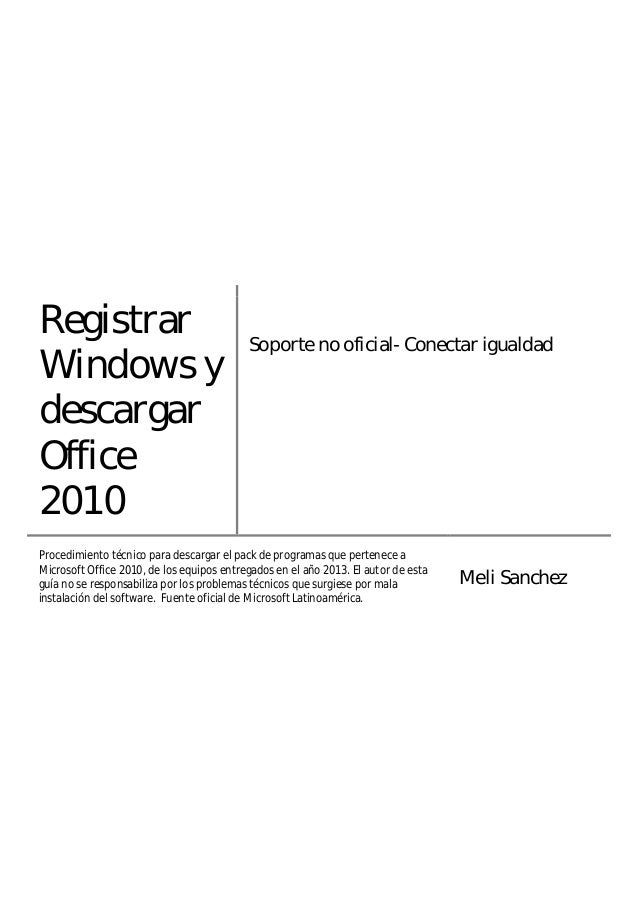 Registrar windows y descargar office 2010