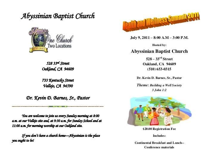 Abyssinian Baptist Church<br />772999-1917<br />528 33rd Street<br />Oakland, CA  94609<br />733 Kentucky Street<br />Vall...