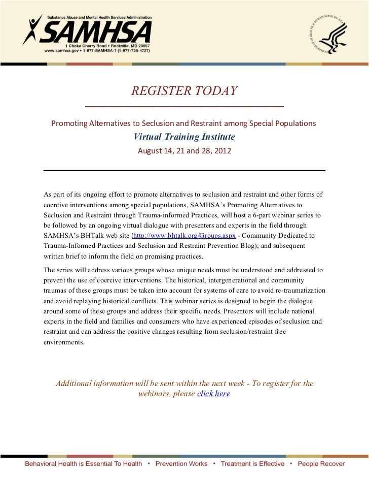 REGISTER TODAY              _____________________________________________  Promoting Alternatives to Seclusion and Restrai...