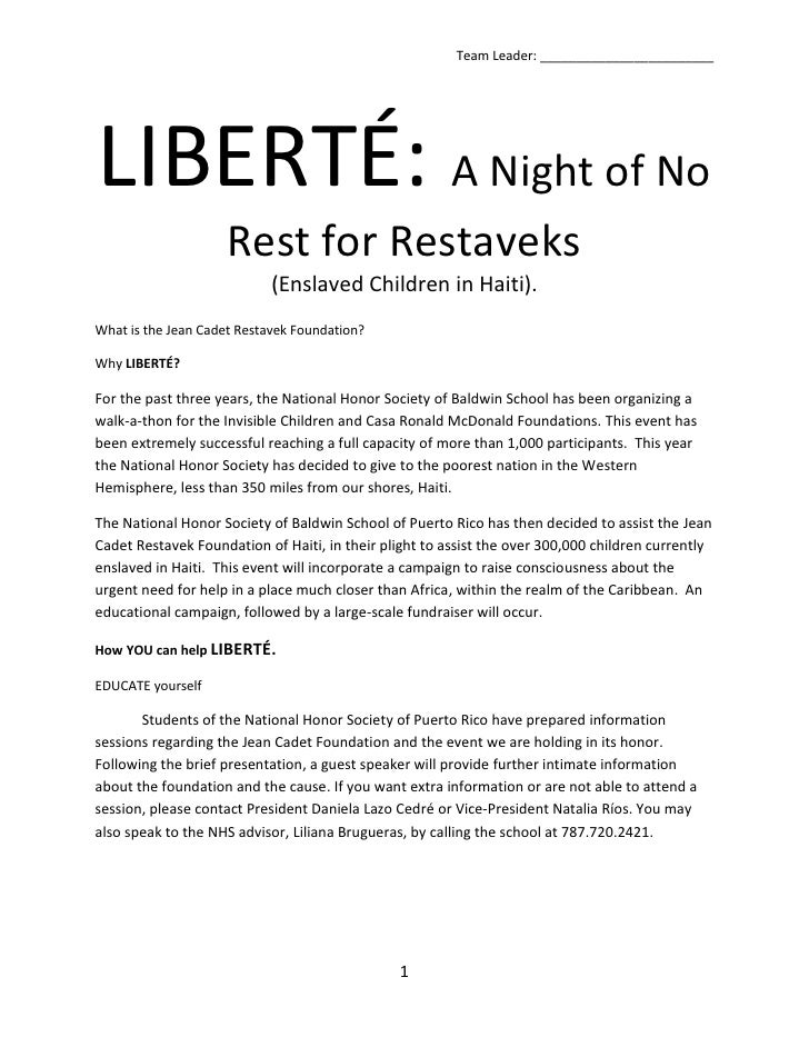 LIBERTÉ: A Night of No Rest for Restaveks<br />(Enslaved Children in Haiti).<br />What is the Jean Cadet Restavek Foundati...