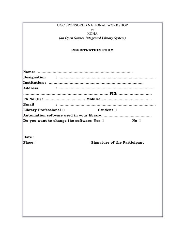 Workshop Registration Form Registration Form Koha