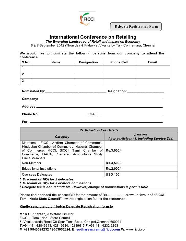 Registrations Forms For Conferences Registration Form of