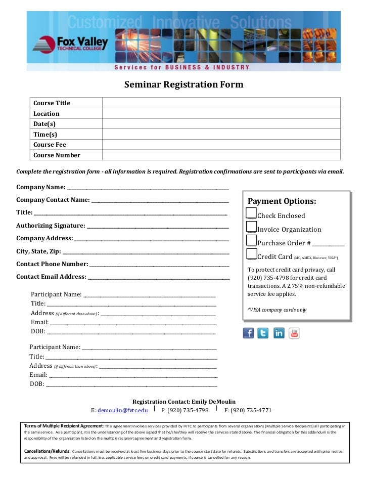 Seminar Registration Form        Course Title        Location        Date(s)        Time(s)        Course Fee        Cours...
