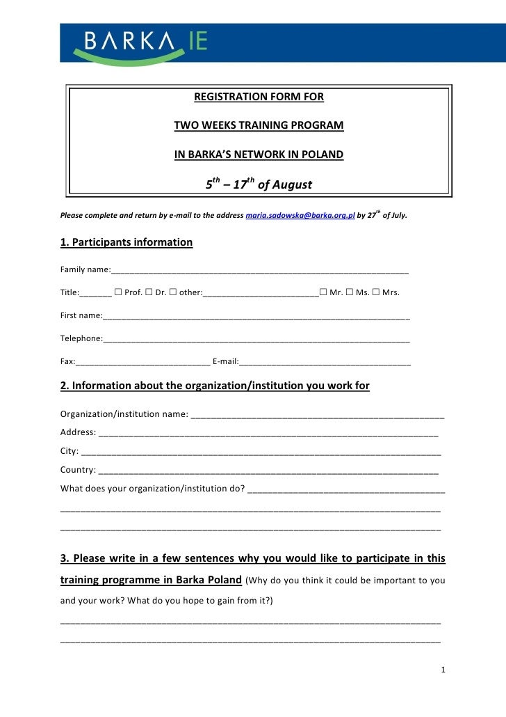 REGISTRATION FORM FOR                              TWO WEEKS TRAINING PROGRAM                              IN BARKA'S NETW...