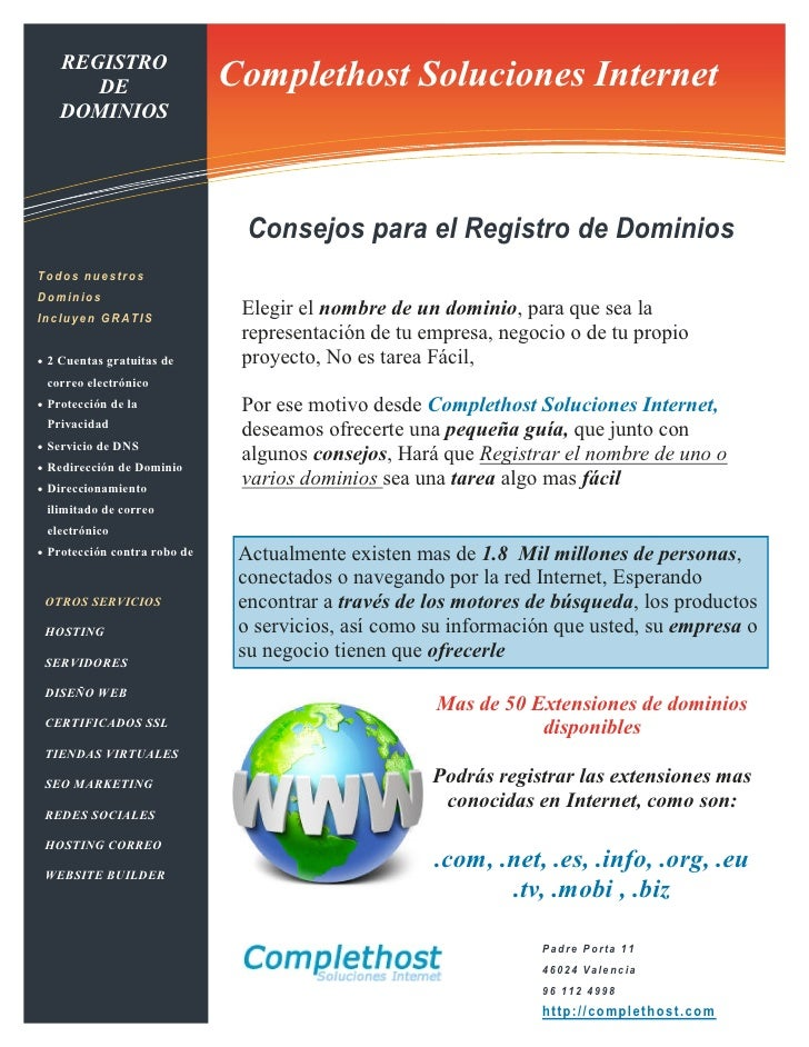 REGISTRO                    Information Technology Solutions                              Complethost Soluciones Internet ...