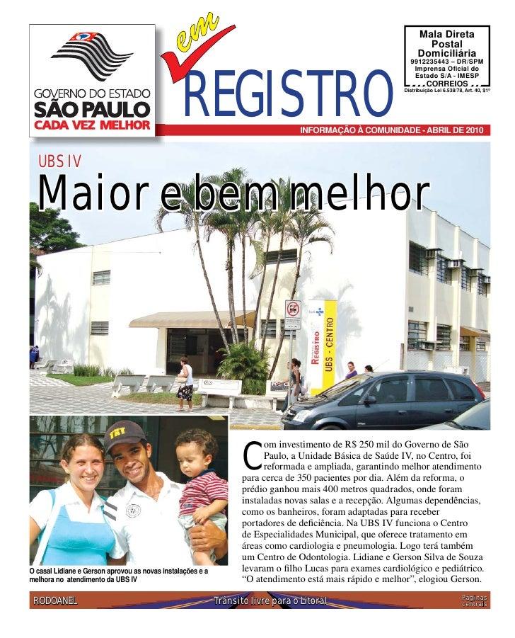Boletim informativo de Registro - Abril - 2010