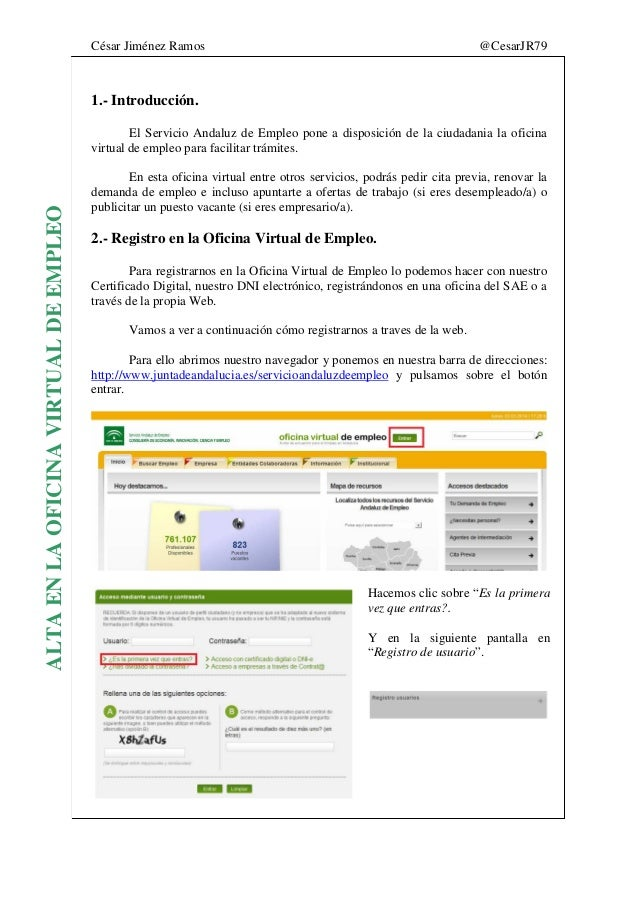 Manual registro oficina virtual de empleo for Servicio andaluz empleo oficina virtual