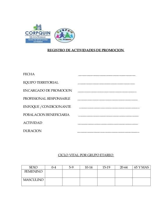Registro promocion