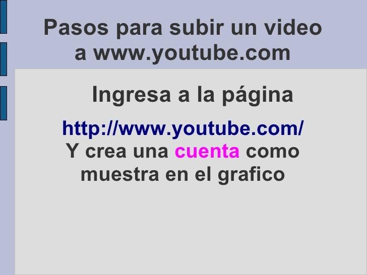 Pasos para subir un video   a www.youtube.com     Ingresa a la página  http://www.youtube.com/  Y crea una cuenta como    ...