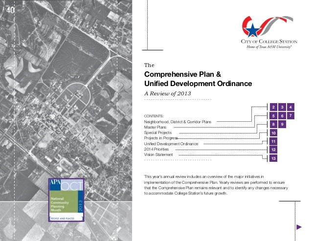 The  Comprehensive Plan & Unified Development Ordinance A Review of 2013  ...............................  2 CONTENTS:  Ne...