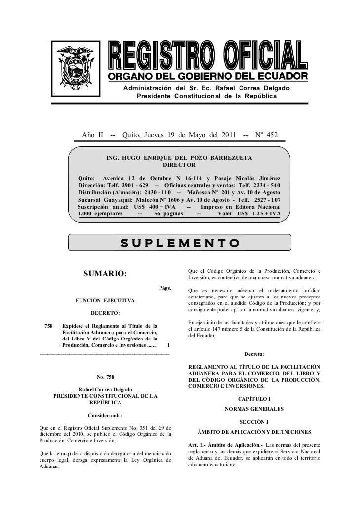Administración del Sr. Ec. Rafael Correa Delgado                                         Presidente Constitucional de la R...