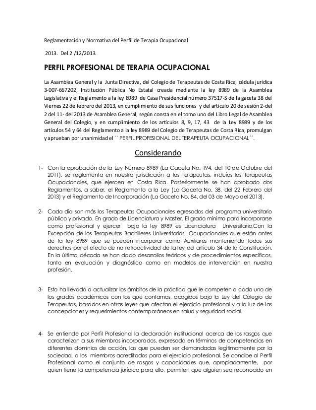 Reglamentación y normativa del perfil de terapia ocupacional ctcr 2014