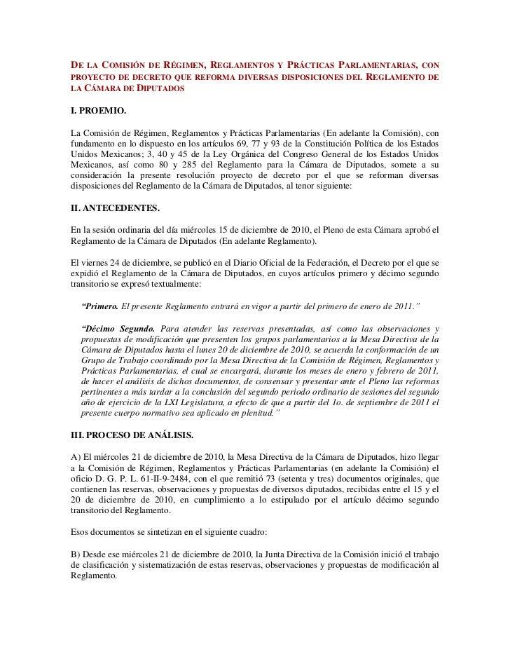 De la Comisión de Régimen, Reglamentos y Prácticas Parlamentarias, con proyecto de decreto que reforma diversas disposicio...